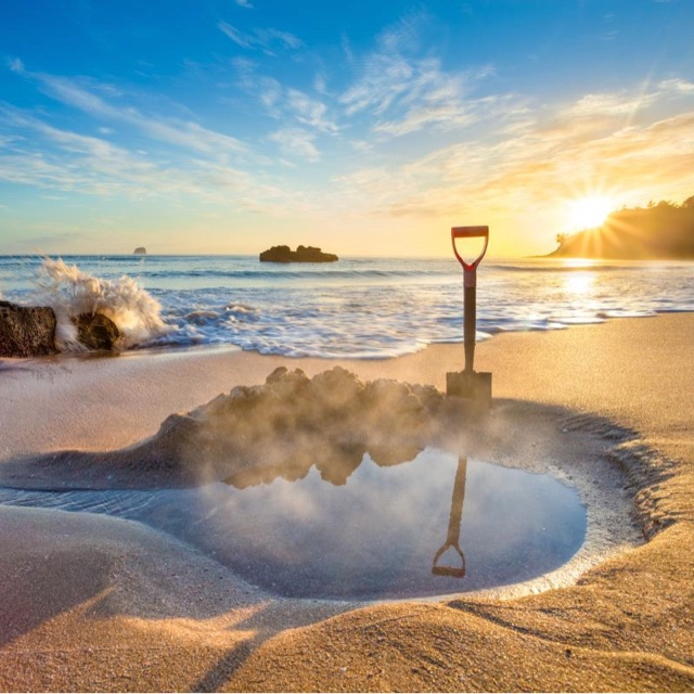 Carve a Thermal Hot Tub at the Beach