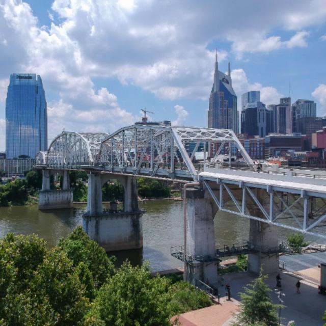 Walk the John Seigenthaler Pedestrian Bridge